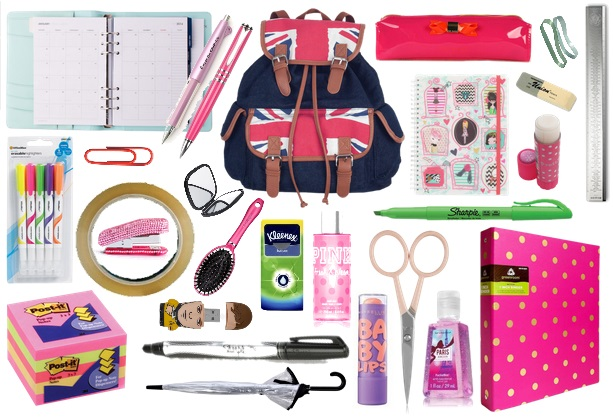 Back To School School Bag Desk Essentials Checklist